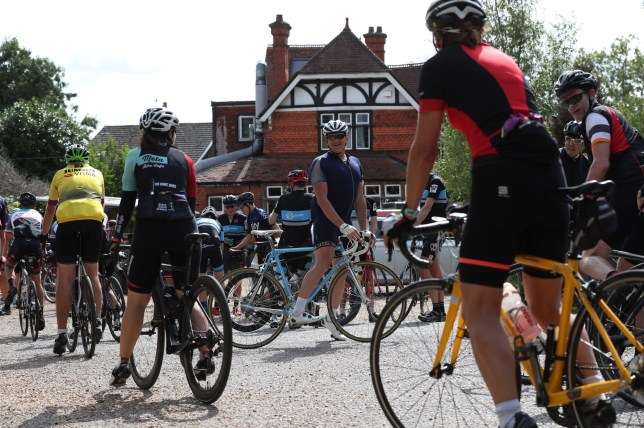 Cyclists continue to frequent Velolife cafe and bicycle repair shop in Warren Row, Berkshire, despite an enforcement order by the local council. PRESS ASSOCIATION Photo. Picture date: Monday August 12, 2019. Velolife was set up on the site of an old pub as a cafe and bike workshop in 2016 by entrepreneur Lee Goodwin who is now embroiled in a row with neighbours trying to stop clubs using the premises as a meeting point. See PA story CONSUMER CycleCafe. Photo credit should read: Jonathan Brady/PA Wire
