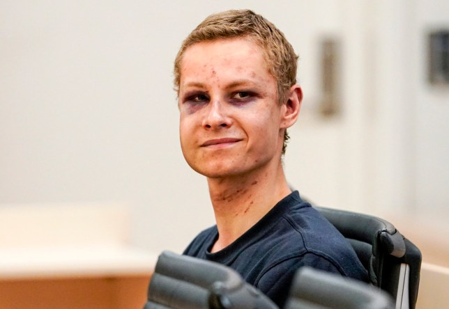 epa07769762 Philip Manshaus, charged with murder and attempted act of terror, appears in court for his detention hearing, in Oslo, Norway, 12 August 2019. A 21-year-old Norwegian man is set to face court on suspicion of killing his 17-year-old stepsister and opening fire at a mosque near Oslo on 10 August 2019. EPA/CORNELIUS POPPEN NORWAY OUT