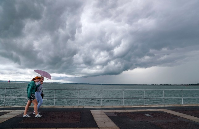 Rain clouds over the sea in Southsea, Hampshire, as thunderstorms are due across the South East. PRESS ASSOCIATION Photo. Picture date: Monday August 12, 2019. See PA story WEATHER Wet. Photo credit should read: Steve Parsons/PA Wire