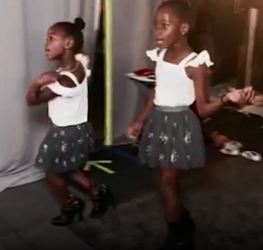 Madonna's twin daughters sing and dance in their mum's heels Picture: Madonna