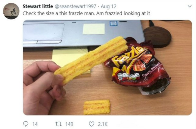 """HILARIOUS photo shows how a shopper got more than he bargained for when he found a giant Frazzle in his packet of crisps. Sean Stewart, thought to be from Cumbernauld, North Lanarkshire purchased the packet of crisps which is sold as part of a ?1 multipack from an Iceland in Glasgow's West End on Monday. 22-year-old Sean was stunned when he opened the bag and managed to pull out a crisp at least three times the length of a normal Frazzle. The photo shows Sean holding the crisp next to a normal size Frazzle for reference. A tickled Sean took to Twitter to share the image, posting the photo with the caption: """"Check the size a this frazzle man. Am frazzled looking at it""""."""