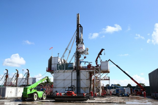 "The drilling rig at Preston New Road shale gas exploration site. The boom in fracking for shale gas has ""dramatically increased"" global methane emissions in the past decade, a study has warned. PRESS ASSOCIATION Photo. Issue date: Wednesday August 14, 2019. While the rapid rise in levels of methane, a significant greenhouse gas, in recent years has been attributed to biological sources such as cows, tropical wetlands and rice fields, new research points to the role of fracking. See PA story ENVIRONMENT Methane. Photo credit should read: Dave Thompson/PA Wire NOTE TO EDITORS: This handout photo may only be used in for editorial reporting purposes for the contemporaneous illustration of events, things or the people in the image or facts mentioned in the caption."