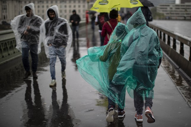 LONDON, ENGLAND - AUGUST 14: Members of the public walk through torrential rain on Westminster Bridge on August 14, 2019 in London, England. (Photo by Dan Kitwood/Getty Images)