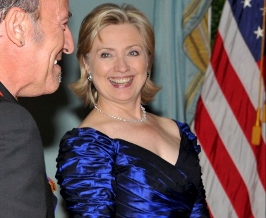 Image result for clinton red shoes blue dress
