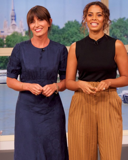 Editorial use only Mandatory Credit: Photo by Ken McKay/ITV/REX (10363092n) Davina McCall, Rochelle Humes 'This Morning' TV show, London, UK - 16 Aug 2019