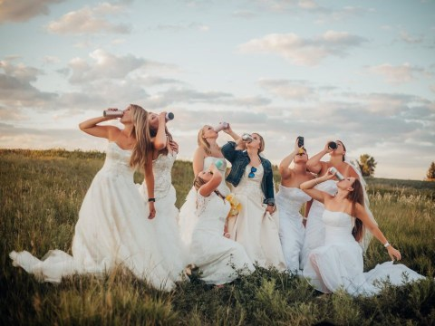 Widowed bride and her mates drink beer in their wedding dresses in Friends-inspired photoshoot