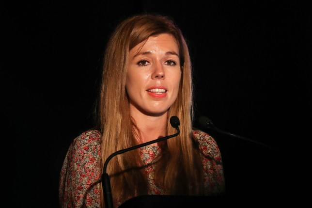 Carrie Symonds, the partner of Prime Minister Boris Johnson, gives a speech at Birdfair, an environmental awareness conference, at the Rutland Water Nature Reserve in Egleton near Oakham. PRESS ASSOCIATION Photo. Picture date: Friday August 16, 2019. See PA story ENVIRONMENT Symonds. Photo credit should read: Joe Giddens/PA Wire