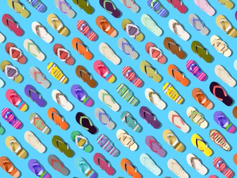 Can you find the aubergine hiding among these flip flops in under three minutes?