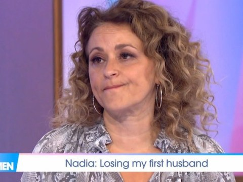 Nadia Sawalha breaks down in tears while talking about the death of her first husband's suicide
