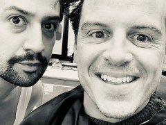 Andrew Scott poses with Lin-Manuel Miranda as he joins the cast of His Dark Materials