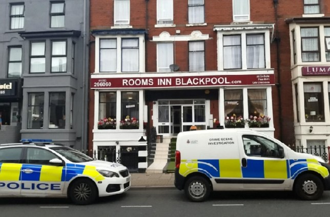 GV of the Rooms Inn hotel in Blackpool, Lancs. See SWNS story SWLEfall. A two year old girl has been rushed to hospital after falling from a hotel window. The incident happened at the Rooms Inn hotel in Blackpool, Lancs, at around 9am this morning (Tues). Emergency service personnel rushed to the scene to treat the child, who witnesses say was an un-named girl. One ambulance, three police cars, a police van and a crime scene investigation van were spotted outside the hotel.