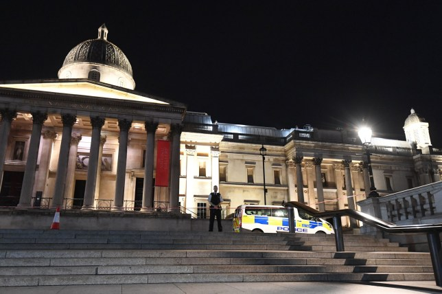 Police at the scene where a man has been stabbed in London's Trafalgar Square, the Met Police said, as emergency services were called at 9.11pm on Wednesday evening following reports of a knife attack. PRESS ASSOCIATION Photo. Picture date: Wednesday August 21, 2019. See PA story POLICE TrafalgarSquare. Photo credit should read: Victoria Jones/PA Wire