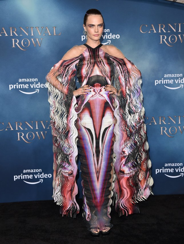 Cara Delevingne rocks quite the fierce dress alongside 'wife' Ashley Benson at Carnival Row premiere
