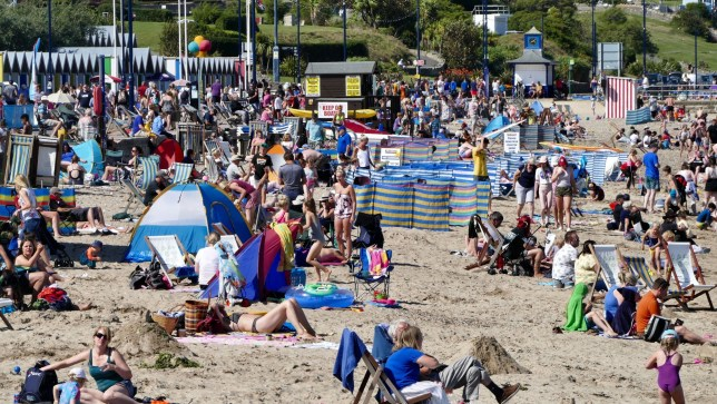 Mandatory Credit: Photo by Geoffrey Swaine/REX (10368986ar) People enjoy the hot weather in Swanage, Dorset Seasonal weather, UK - 22 Aug 2019