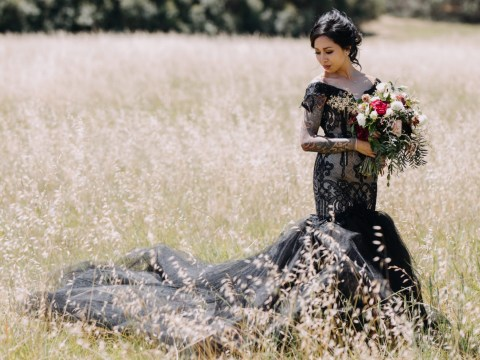 Bride wears amazing black wedding dress for 'goth and punk-infused' big day