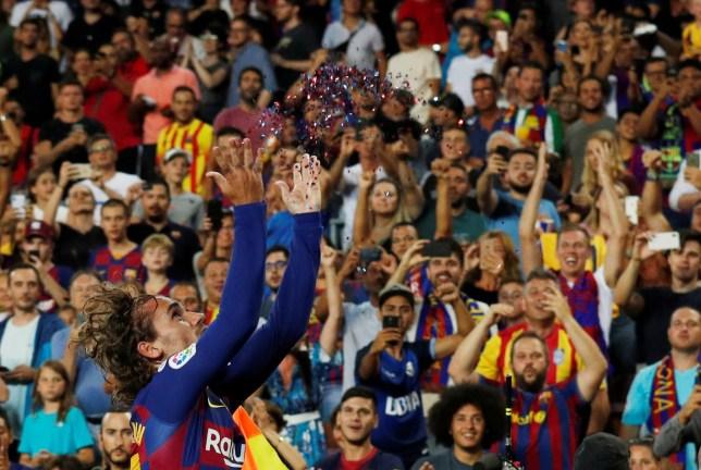 Soccer Football - La Liga Santander - FC Barcelona v Real Betis - Camp Nou, Barcelona, Spain - August 25, 2019 Barcelona's Antoine Griezmann celebrates scoring their second goal REUTERS/Albert Gea