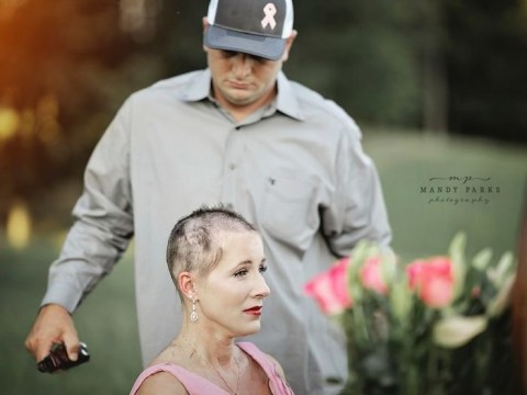 Husband shaves off wife's hair following cancer diagnosis in poignant photoshoot