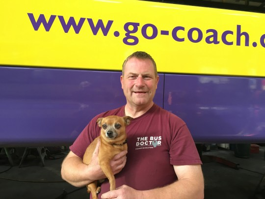 - Picture of Austin Blackburn the owner of Go Coach with a dog TRIANGLE NEWS 0203 176 5581 // contact@trianglenews.co.uk By Ralph Blackburn With pix THE UK'S first bus route for DOGS is being unleashed. Mutts will be given their own free canine tickets, doggy treats and litter bags on routes by bus company Go Coach. The drives will cover dog friendly castles, country parks and gardens when the two year Follow My Lead campaign is launched in Kent.