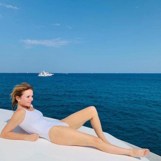 Geri Horner poses on her yacht
