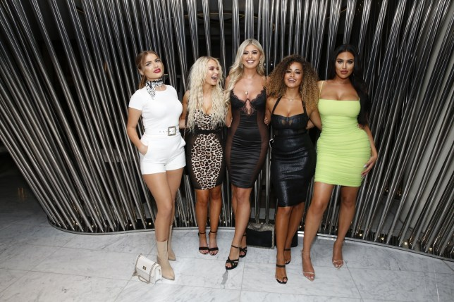 Love Island's Belle Hassan braves a sheer panel bodycon for girls' night with Amber Gill and Lucie Donlan