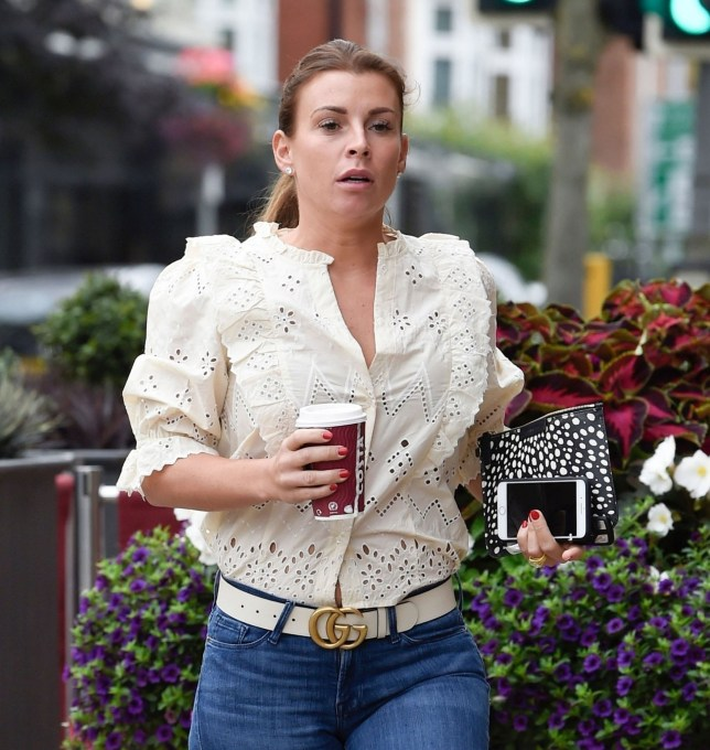 Coleen Rooney gets a much-needed coffee after flying to the USA to bring Wayne home following cheating denial