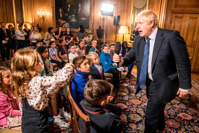 "Britain's Prime Minister Boris Johnson takes questions from young people aged 9-14 during an event inside 10 Downing Street in London on August 30, 2019 ahead of an education announcement. - British Prime Minister Boris Johnson on August 30 warned any attempt by MPs next week to stop Brexit or delay it beyond October 31 would do ""lasting damage"" to public trust in politics. (Photo by JEREMY SELWYN / POOL / AFP)JEREMY SELWYN/AFP/Getty Images"