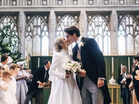 Ellie Goulding and Casper Jopling seal their marriage with a kiss inside York Minster
