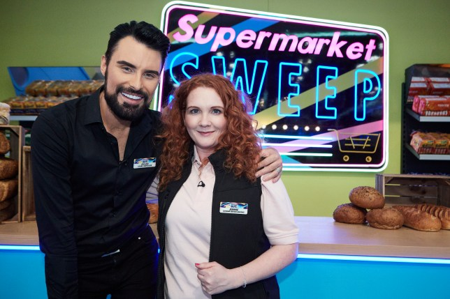 Coronation Street Jennie McAlpine with Rylan Clark-Neal for Supermarket Sweep