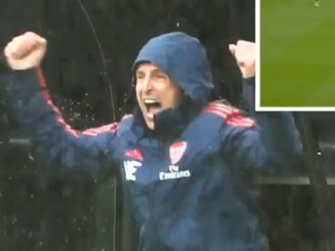 Unai Emery celebrates Joe Willock's tackle like a goal in Arsenal's win over Newcastle United