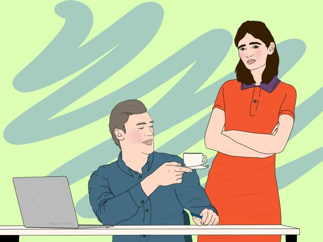 Illustration of a woman standing in front of her boss, who is seated and is holding up a cup of tea