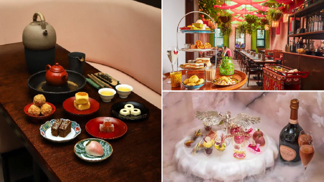 A compilation of three photos showcasing various afternoon tea experiences including Xu, Cinnamon Bazaar and Brasserie of Light, all located in London