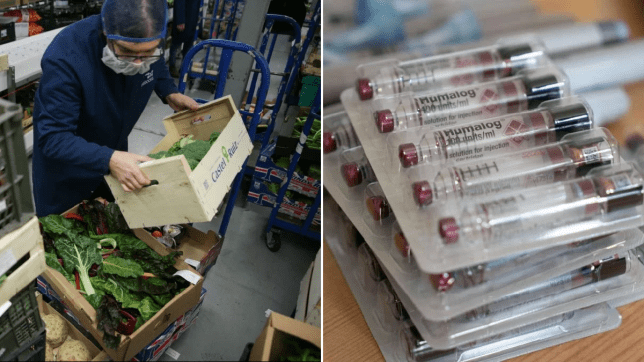 Worker carrying boxes of food (left) next to picture of medicine in packaging