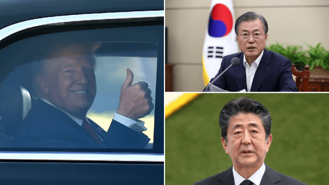 Photo of Donald Trump leaving Bridgehampton fundraiser, and file photos of Moon Jae-In as well as Shinzo Abe