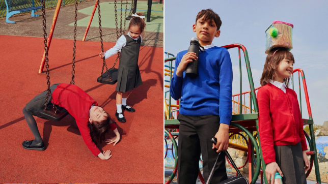 Split image featuring kids dressed in the Sainsbury's Tu range on a playground and on swings