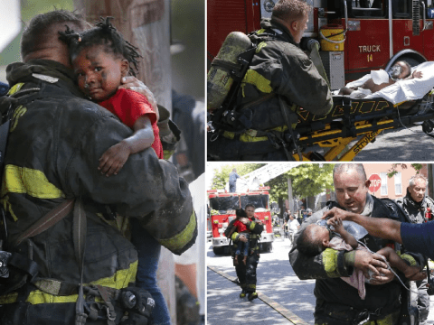 Moment toddlers suffering cardiac arrest are saved from burning apartment after being left home alone