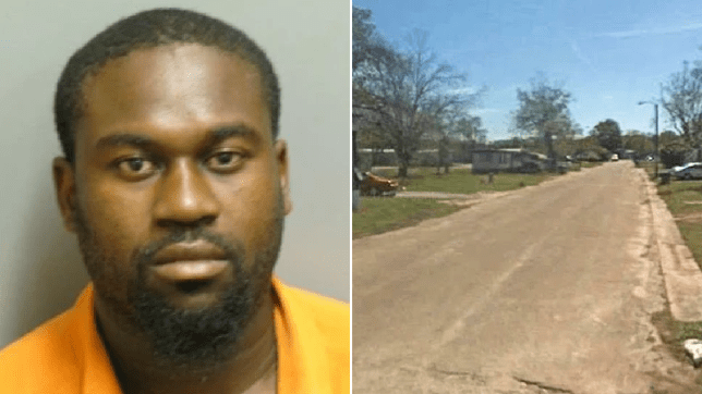 Mugshot of Willie Sankey and file photo of trailer park where Omarion Green was shot dead