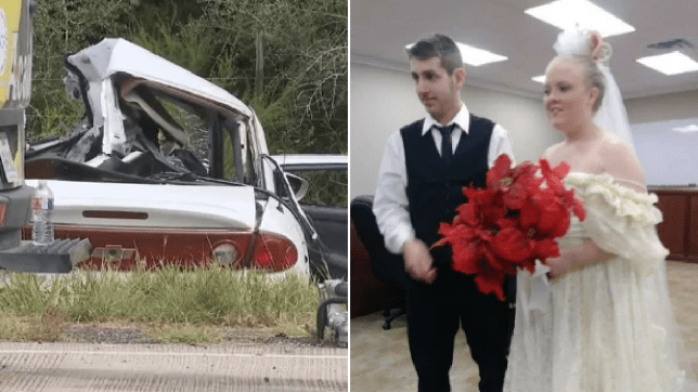 Photo of crash wreckage next to photo of Harley Morgan and Rhiannon Boudreaux who died moments after getting married