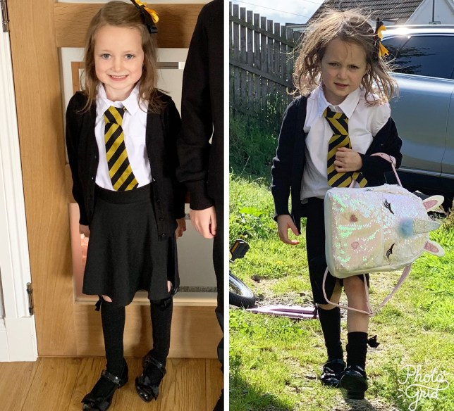 Little girl's before and after 'back to school' photos are just perfect