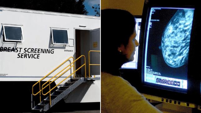 mobile breast screening van (L) A doctor surveys a mammogram (R)