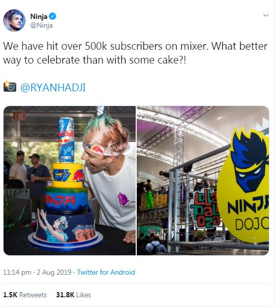Ninja celebrates in epic style after first Mixer stream