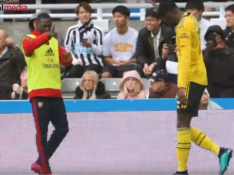 Nicolas Pepe's lovely reaction to Ainsley Maitland-Niles' assist as Arsenal beat Newcastle