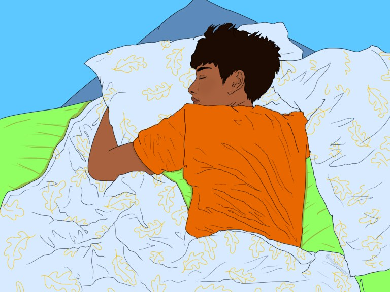 Illustration of asian man sleeping in bed