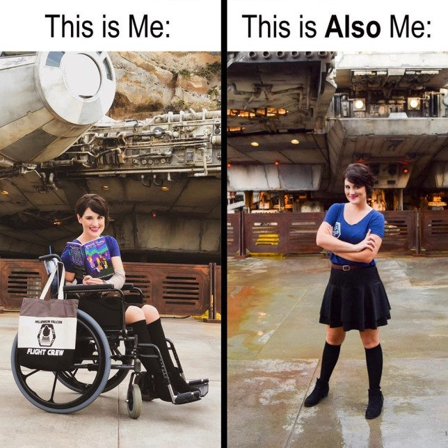 Kristen Waldbieser in her wheelchair and the picture she took where she stood up for a few minutes
