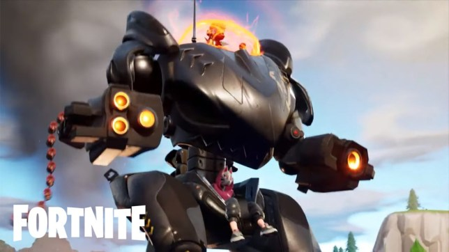A picture of a Fortnite B.R.U.T.E mech about to fire its weapons