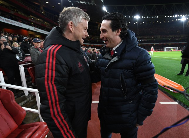 Ole Solskjaer Man United coach and Unai Emery Arsenal coach