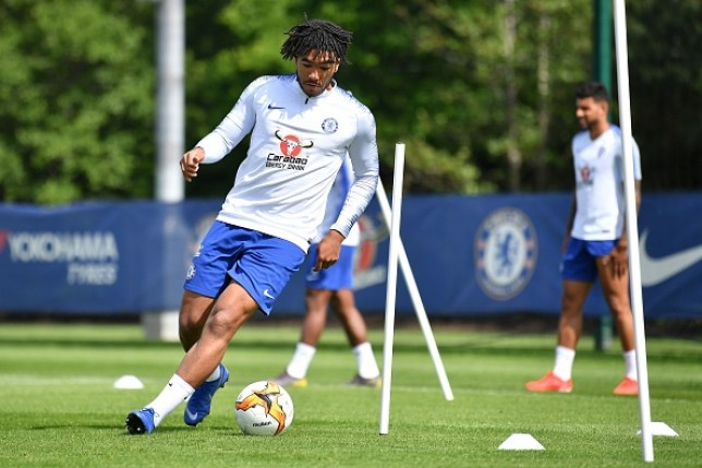 Reece James training with Chelsea in June
