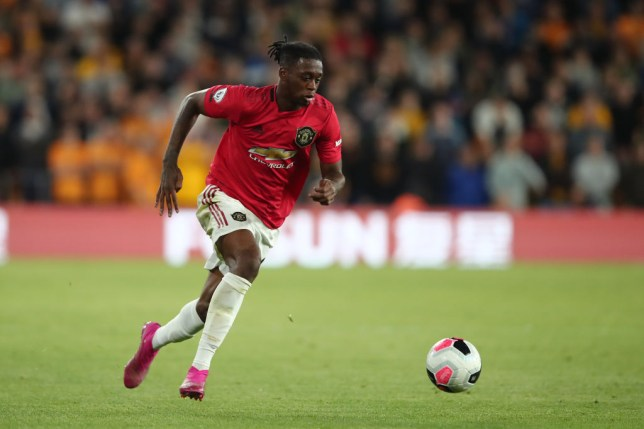 Aaron Wan-Bissaka on the ball for Manchester United against Wolves