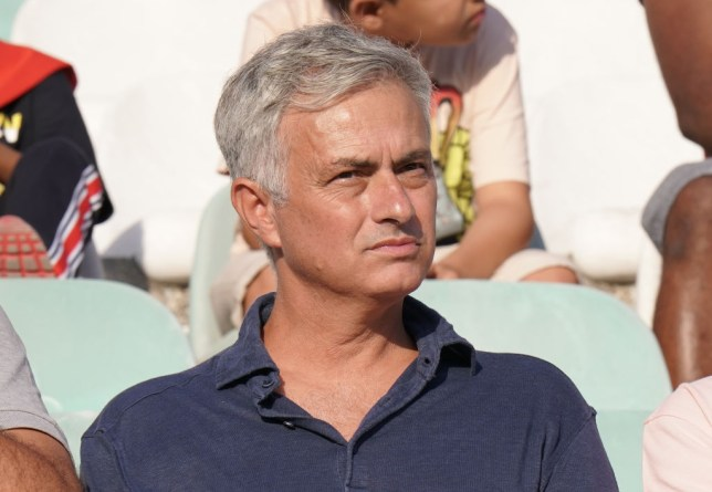 Former Manchester United manager Jose Mourinho looks on