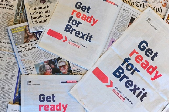 Newspapers bearing the slogan 'Get ready for Brexit'