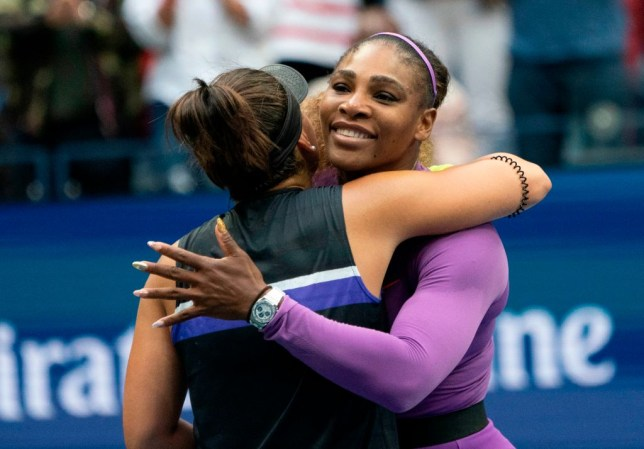 Serena Williams hugs Bianca Andreescu after the US Open final